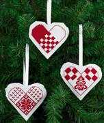 Heart Tree Decorations - White - Permin Cross Stitch Kit