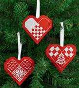 Heart Tree Decorations - Red - Permin Cross Stitch Kit