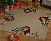 Santa and Owl Tree Skirt - Permin Cross Stitch Kit