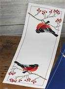 Bullfinch Runner - White - Permin Cross Stitch Kit
