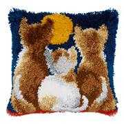 Cats at Night Cushion - Vervaco Latch Hook Kit