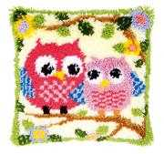 Owls on a Branch Cushion - Vervaco Latch Hook Kit