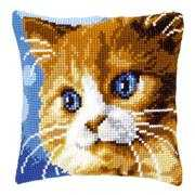 Brown Cat Cushion - Vervaco Cross Stitch Kit