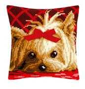 Yorkshire with Bow Cushion - Vervaco Cross Stitch Kit