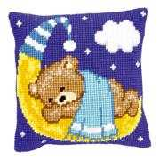 Vervaco Blue Teddy on Moon Cushion Cross Stitch Kit