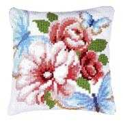 Blue Butterflies Cushion - Vervaco Cross Stitch Kit
