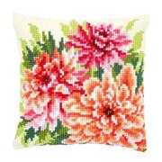 Pink Dahlias Cushion - Vervaco Cross Stitch Kit