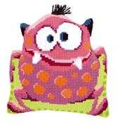 Pink Monster Cushion - Vervaco Cross Stitch Kit