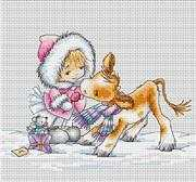 Luca-S Girl with Calf Christmas Cross Stitch Kit