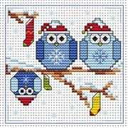 Christmas Twits Card - Fat Cat Cross Stitch Kit