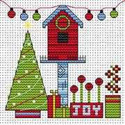 Christmas Birdhouse Card - Fat Cat Cross Stitch Card Design