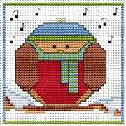 Round Robin Card - Fat Cat Cross Stitch Card Design
