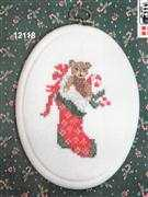 Teddy Bear Stocking Plaque - Danish Design by OOE Cross Stitch Kit