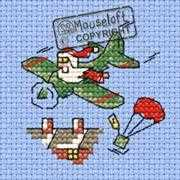 Santa's Airdrop - Mouseloft Cross Stitch Card Design