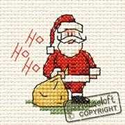 Mouseloft Ho Ho Ho Santa Card Cross Stitch Kit