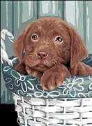 Puppy in a Basket - Royal Paris Tapestry Canvas