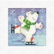 Polar Bear Christmas Card - Heritage Cross Stitch Card Design