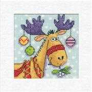 Reindeer Christmas Card - Heritage Cross Stitch Card Design
