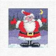 Santa Christmas Card - Heritage Cross Stitch Card Design
