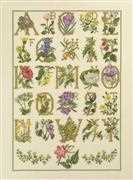 Floral Alphabet - Linen - Permin Cross Stitch Kit