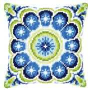 Blue-Green Rosette Cushion - Vervaco Cross Stitch Kit