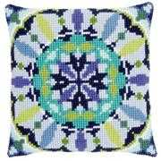 Blue Rosette Cushion - Vervaco Cross Stitch Kit