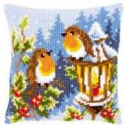 Robin and Lantern Cushion - Vervaco Cross Stitch Kit
