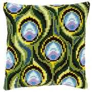 Peacock Feathers Cushion - Vervaco Cross Stitch Kit