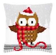 Owl in Santa Hat Cushion - Vervaco Cross Stitch Kit