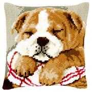 Sleeping Bulldog Cushion - Vervaco Cross Stitch Kit