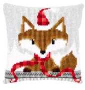 Fox in Santa Hat Cushion - Vervaco Cross Stitch Kit