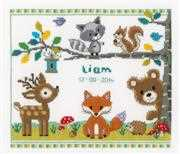 Vervaco Forest Animals Birth Sampler Cross Stitch Kit