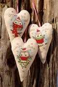 Christmas Owl Hearts (Set of 3) - Vervaco Cross Stitch Kit