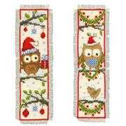 Owls in Santa Hat Bookmarks (Set of 2) - Vervaco Cross Stitch Kit