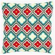 Vervaco Rhombuses and Flowers Cushion Long Stitch Kit