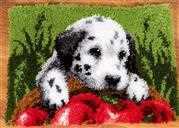 Vervaco Dalmatian with Apples Rug Latch Hook Kit