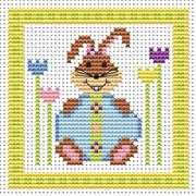 Bunny Blue Egg Card - Fat Cat Cross Stitch Kit