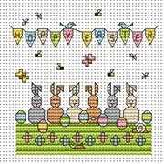 Egg Bunnies Card - Fat Cat Cross Stitch Kit