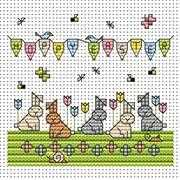 Tulip Bunnies Card - Fat Cat Cross Stitch Kit