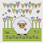 Happy Easter to Ewe Card - Fat Cat Cross Stitch Kit