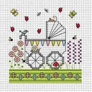 Garden Pram Card - Fat Cat Cross Stitch Kit