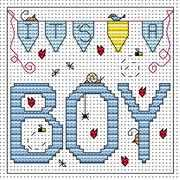 It's A Boy Card - Fat Cat Cross Stitch Kit