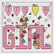 It's A Girl Card - Fat Cat Cross Stitch Kit