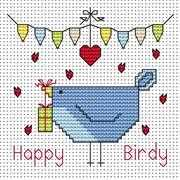 Happy Birdy Card - Fat Cat Cross Stitch Kit