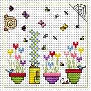Snail and Flower Pots Card - Fat Cat Cross Stitch Kit