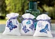 Vervaco Blue Butterflies Bags - Set 3 Cross Stitch Kit