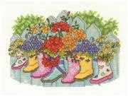Blossoming Wellies - DMC Cross Stitch Kit