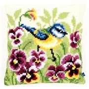 Vervaco Bluetit and Pansies Cushion Cross Stitch Kit