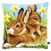 Mother and Baby Rabbit Cushion - Vervaco Cross Stitch Kit