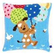 Dog with Balloons Cushion - Vervaco Cross Stitch Kit